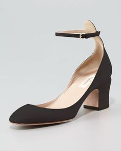 Suede Low-Heel Ankle-Strap Pump by Valentino