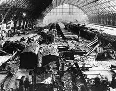 Wartime damage Kings Cross St Pancras station ~