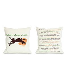 Loving this White 'Never Sleep Alone' Reversible Throw Pillow on #zulily! #zulilyfinds