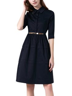 Navy Blue Belted Wai