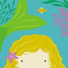Peek-a-Boo Heroes: Mermaid Print by Yuko Lau at Art.com