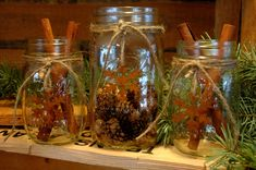 Rustic set of 3 Mason Jars with Snowflakes for your Christmas decor. $25.00, via Etsy.