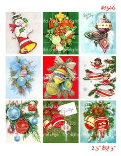 Vintage Christmas Card Imagesornament by TheDigitalChick on Etsy, $2.25