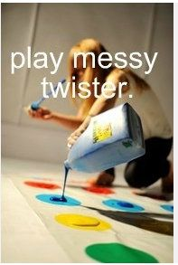 Messy Twister- might be fun with colored shaving cream instead to make clean up easier.