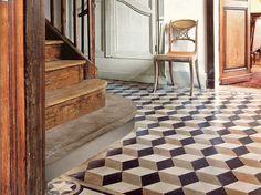 chair, interior, cement tiles, stair, tile patterns, cubes, flooring, floor patterns, painted floors