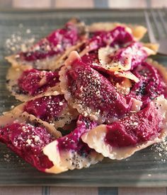 Beet Ravioli with Poppy Seed Butter Recipe  | Epicurious.com