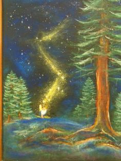 """""""The Star Money"""", a chalk drawing at  a winter waldorf celebration."""