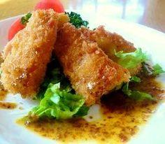 """Deep-fried bamboo shoot raw ham sandwiches with Honey mustard"" - japanese recipe/筍の生ハム包み揚げハニーマスタード"