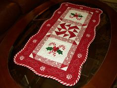 Candy Cane Table Runner by BarbiesQuiltShop on Etsy, $60.00
