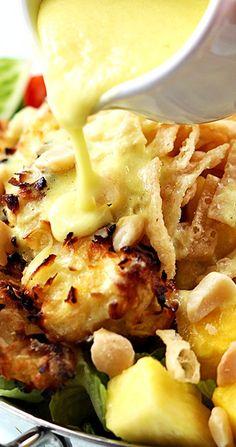 PINA COLADA CHICKEN SALAD ~ This sensational summer salad has baked coconut chicken tenders, fresh pineapple, macadamia nuts, and a creamy pina colada vinaigrette dressing! chicken salads, summer salads