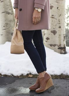 Jack Rogers shoes are so cute with a skinny jean and long wool coat.