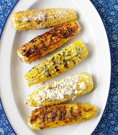 Grilled corn on the cob, 5 ways! Get the mouth-watering #recipes: http://www.countryliving.com/cooking/summer-side-dish-recipes#slide-21