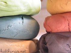 How to make homemade playdough, using Kool-Aid packs for color.