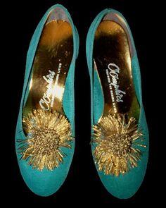 Vintage 50s Turquoise Velvet Slippers