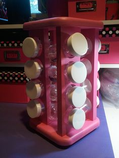 Great idea---updating a spice rack to store beads, buttons etc.