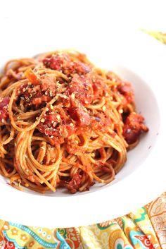 Vegetarian soy chorizo bolognese