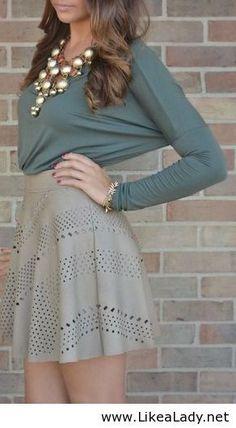 LOVE the laser-cut, high-waist neutral skirt.