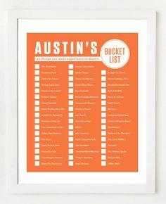 A bucket list for Austin, Tx!