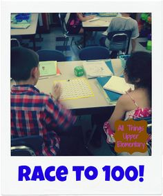 Race to 100! A fun multiplication game using only dice, hundreds charts, and ones blocks - SUPER easy!