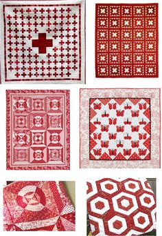 Free Pattern Day - Quilt Inspiration - Red and White Quilts