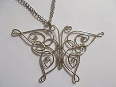 Celtic Wire Butterfly Pendant #necklace #jewelry