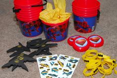 How to Host a Super Cool Superhero Birthday Party: Party favor pails