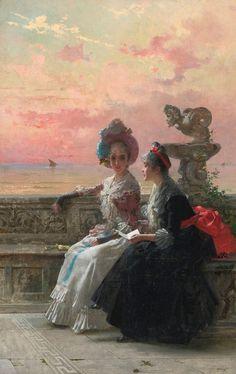 Vittorio Matteo Corcos Un secret partagé (1888) oil on canvas