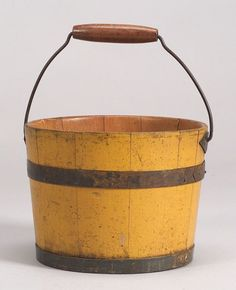 Yellow Painted Shaker Pail, Canterbury, New Hampshire
