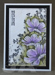 Colored Pencil resist technique on a Post Card Ambrosia and Iron: Floral inspiration