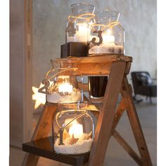. ladder, beach christmas, step stools, christmas candles, mason jars, light, beach decorations, table numbers, candle jars