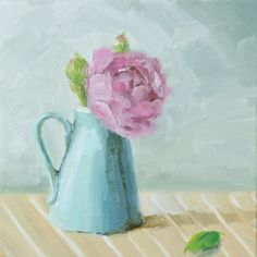 Original Oil Painting on Canvas board  Aqua vase   by KicoART,