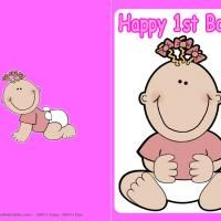 How adorable is this? Give a like for Free Printable Baby Girl First Birthday Cards!