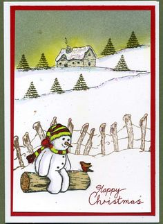 cute snowman christma card
