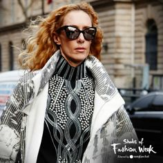Embellishment galore, mirrored frames and flowing red locks. Or how to be a showstopper at the Paris Fashion Week. #pfw #shadesoffashionweek #sunglasses