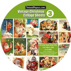 32 Vintage CHRISTMAS Collage Sheets on CD by TwistedPapers on Etsy, $12.95