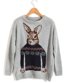 Retro Gray Loose Knitted Jumpers with Rabbit Print Detail
