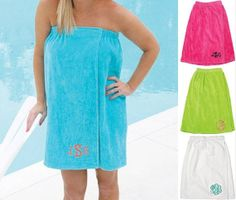 Monogrammed Towel Wrap Adult size Monogrammed Pool Wrap INITIALS or NAME College Dorm Room
