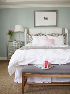 master bedroom designed by a thoughtful place / crane and canopy white pintuck bedding