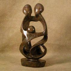 Loving Family Of Three Stone Sculpture