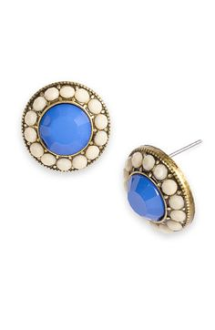 blue and white earring studs