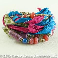 Multi strand multicolor sari ribbon wrap bracelet with beads. 12-131 | MartieRocco - Jewelry on ArtFire