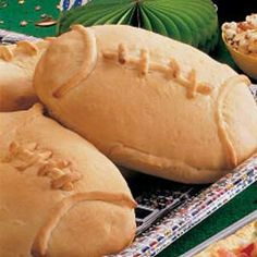 Quarterback Calzones Recipe ~ Select your favorite ingredients to fill these easy-to-assemble pizza pockets formed with frozen dinner rolls.
