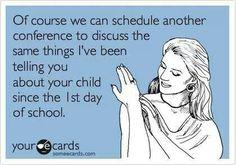 Parent conference.  Teacher humor