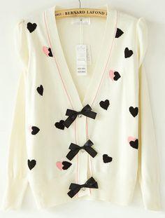 Beige Puff Sleeve Heart Pattern Bowknot Front Cardigan - Sheinside.com