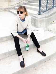 MINIMAL + CLASSIC: : Emma Elwin: Denim shirt, sweater, black jeans, loafers