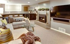 modern basement with