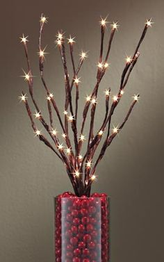 This would make a good piece for christmas times on the mantle or fireplace - Battery-Operated Lighted Willow Branch, Battery Powered LED Decoration | Solutions