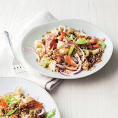 Smoked Salmon and Wheat Berry Salad Recipe | MyRecipes.com #myplate  #veggies #protein #wholegrain