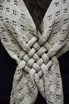 """knit scarf w/ woven """"celtic knot"""" detail"""