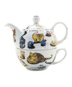 cats teapot set for 1